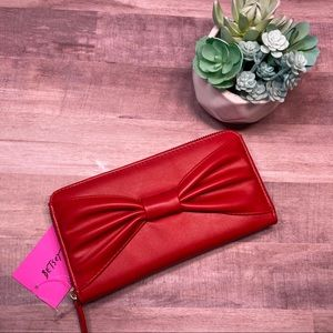 NWT Betsey Johnson red zip around wallet